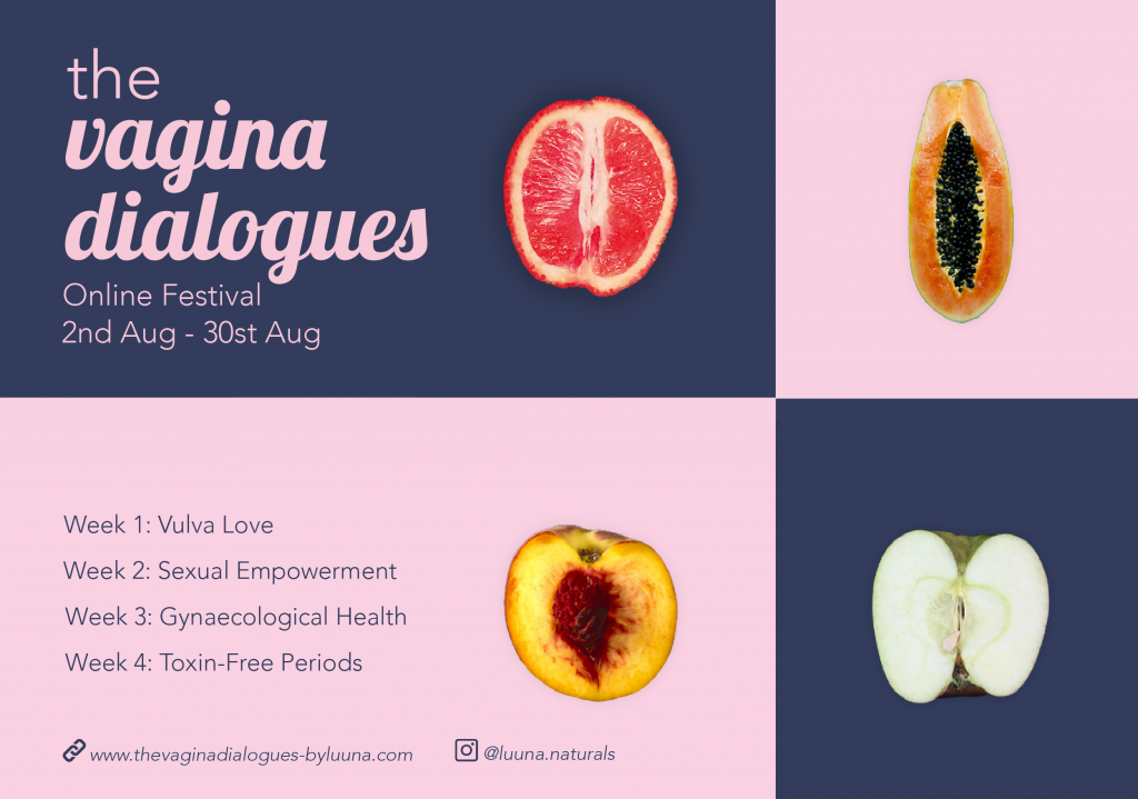 The Vagina Dialogues by LUÜNA naturals: Digital Education and Empowerment Festival: August 2020 - Banner